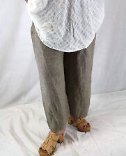 NEW NWOT Flax Plus Size Floods Tan Vicuna Ticking Light 100% Linen Pants 2G (2X)