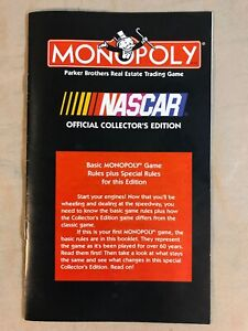 Monopoly Nascar Edition Replacement Game Parts Rules Manual Only 1997