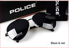 Police Sunglasses Black - Red Unisex polarizing glasses with Police Case