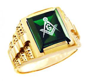 Freemason Green Square and Compass Gold Masonic Men's Ring Letter G
