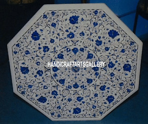 "20"" White Marble Coffee Table Top Lapis Lazuli Inlay Floral Kitchen Decor H3122"