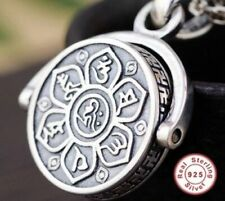 Sterling Silver Tibetan Mantra Prayer Buddhist Om Mani Padmi Necklace Rotates