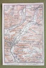 GERMANY Jena City Plan & Railroads - 1904 MAP ORIGINAL Baedeker for Genealogy