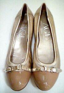 NEW Attilio Giusti Leombruni AGL Metallic Patent Leather Ballet Flats 42.5 US 11