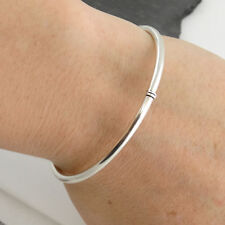 Round Bangle Bracelet - 925 Sterling Silver Push Button Open Polished Gift NEW