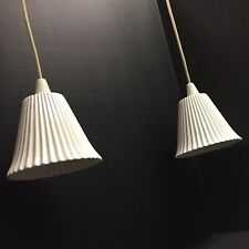 Pair of Original BTC Porcelain Pendant Lights Pleated White Shades Model 131