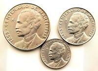 Republica de Cub. Serie centenario de Marti. 1 peso, 50 y 25 cts. 1953. SC-/UNC-