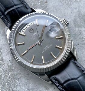 Tudor 38mm Jumbo 7019 /4 Oyster Prince Day Date Automatic - Metallic Grey Dial