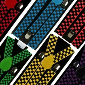 Retro Chequered Braces Suspenders Fancy Dress Punk Squares