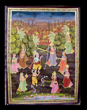 Hanging Wall Silk Painting Art Mughal Scene de Life India 35 3/8x26in D6 1603