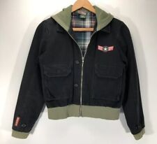 "ROXY Bomber Flight Lined Jacket Hoodie Coat Military Womens S/M 18.5""pit-pit"