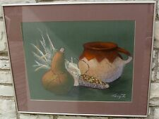 SOUTHWESTERN PAINTING PASTEL TERRY ZOIA NATIVE AMERICAN POTTERY CORN