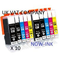 10 Compatible Ink Cartridges For Canon Pixma MG5750 MG5751 MG6850 PGI570 CLI571
