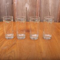 4 Green Flower Pattern Glass Tumblers Water Glass Cups