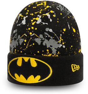 Batman New Era Kids Paint Splat Cuff Knit Black Beanie (Age 4 - 12)