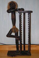 "Wood Carved Tribal Figure Native Man Cd Music Storage Tower Rack Mancave Art 35"""