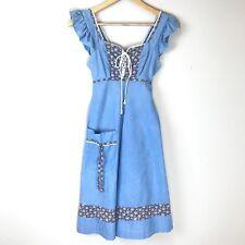 Vintage 70's Apron Style Chambray Dress A Line Lace Up Boho Hippie Size 7 D1