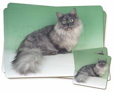 Silver Grey 'Blue' Munchkin Cat Twin 2x Placemats+2x Coasters Set in G, AC-103PC