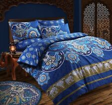 Bohemian Elephant Blue Retro Duvet Quilt Cover Bedding Set Single Double King