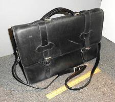 VINTAGE TANDI BLACK LEATHER DISTRESSED MESSENGER BAG SHOLDER STRAP