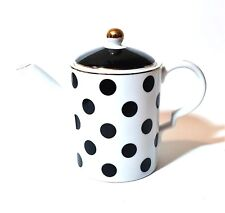 NEW GRACE WHITE+BLACK POLKA DOT,GOLD TRIM COFFEE,TEA POT  36 OZ.