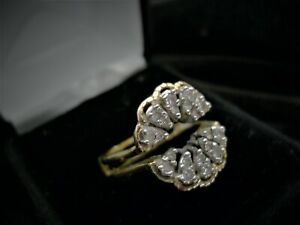 Solitaire  engagement ring enhancer Diamond 14k yellow  gold size appr. 7.5-7.3