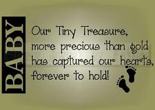 BABY TINY TREASURE Vinyl Wall Saying Lettering Quote Decoration Decal Sign Craft