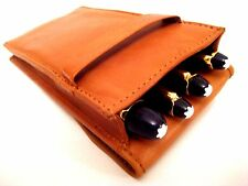 Two Tone Vintage Look Tan Leather Triple/Quadruple 1,2,3,4 Pen Case/Pouch