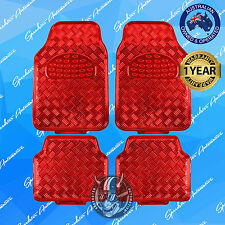 RED CHECKER PLATE CAR FLOOR MATS, METALLIC SHINY, UNIVERSAL HEAVY-DUTY SET OF 4