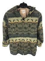 Woolrich Vintage Aztec Multicolor Wool Hoodie Coat Size Large Womens Southwest