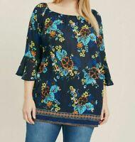 New EVANS Ladies Women's Navy Plus Size Floral 3/4 Sleeve Tunic Top Blouse 14-28