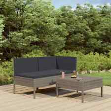 vidaXL Set de Muebles de Jardín 3 Piezas y Cojines Ratán Sintético Gris Butaca
