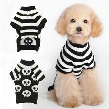 Halloween Pet Dog Sweater Black White Skulls Warm Jacket Puppy Cat Coat Costumes