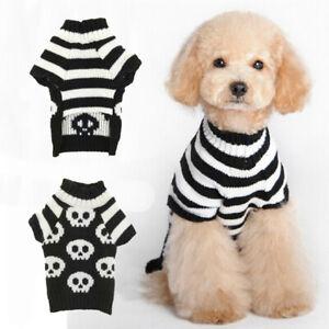 HOT Pet Dog Halloween Skull Sweater Black White Pet Winter Warm Puppy Clothes