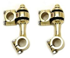 "VTWIN FLANDERS STYLE 3-1/2"" BRASS DOGBONE RISERS HARLEY BOBBER CHOPPER SPRINGER"