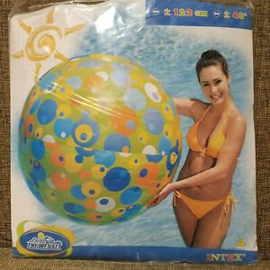 "Inflatable beach ball 48"" by Intex #59070 (green with color circles, rare)"