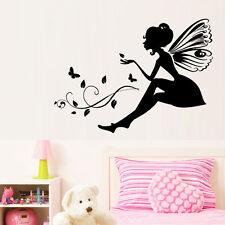 New Butterfly Fairy Girl Flower Wall Sticker Vinyl Mural Art Baby Room Decor NE