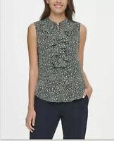 Tommy Hilfiger Womens Size Medium Sleeveless Ruffle Blouse Blue Floral $69 854