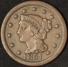 1851 Braided Hair Large Cent - Free Shipping USA