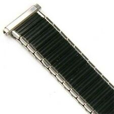 Mens 16-19mm Black Silver Twist O Flex Stretch Metal Expansion Watch Band Strap