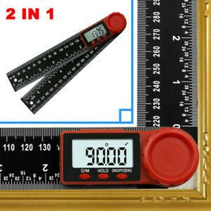 """2 in 1 Digital Angle Finder Ruler 7"""" Protractor 200mm Plastic Angle Gauge UK"""