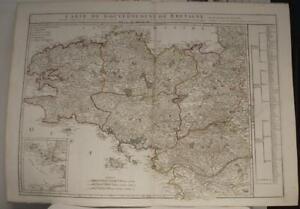 BRITTANY FRANCE 1822 VAUGONDY/DELAMARCHE/DIEN LARGE ANTIQUE COPPER ENGRAVED MAP