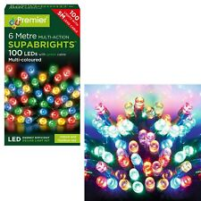 Premier 100 Multi-Action Supabrights LED Lights on Green Cable - multi Colour