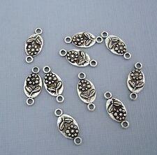 20 pcs- Antiqued Silver Flower  Oval Connector Charm.