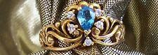 NEW 1991 FABERGE 14K RING 5 DIAMONDS 1 AQUAMARINE SZ 11 HALLMARKED New Low Price