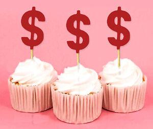 Darling Souvenir  Dollar Sign Cupcake Toppers  Birthday Wedding-K6f