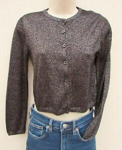 M&S Kids - Girls Black / Silver Sparkly Fine Knit Cardigan - size 11/12 years