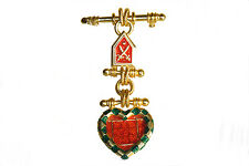 Guy Laroche Paris Signed Pin Brooch vintage gold red green enamel dangle shape