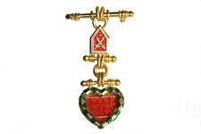 Guy Laroche Paris Signed Pin Brooch vintage gold red green enamel dangle shape