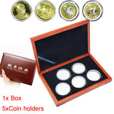 Oak Coin Wood Case Display Box Wooden Storage Collection Holders for 5 Coins